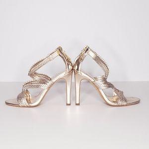 "Gold 4"" Greek Goddess Strappy Heels 💛 w/ Shoe Bag"